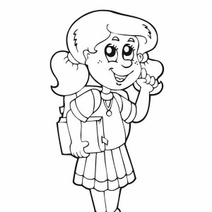A Young Girl Student is Very Happy for the First Day of School Coloring Page