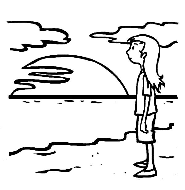 A Young Teenage Girl Waiting for Sunset on the Beach Coloring Page ...