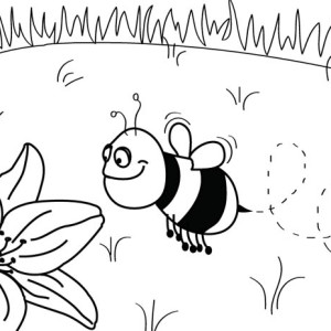 A lazy Bumblebee Getting Late to Work Coloring Page