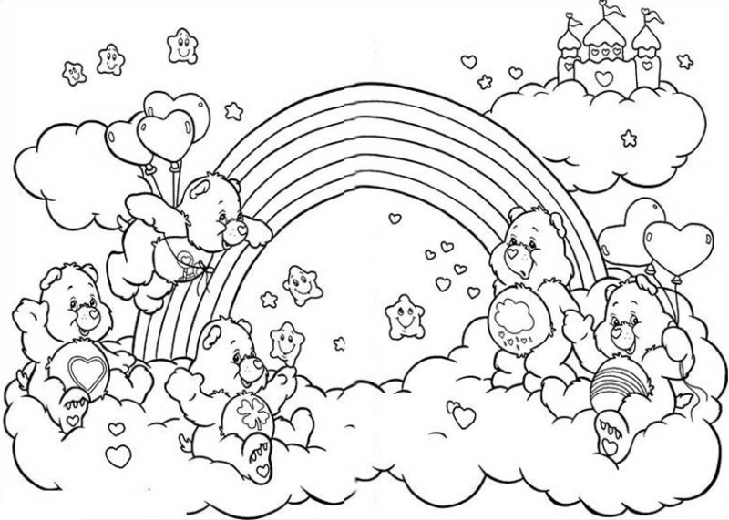 All the Happy Care Bear Welcoming the Rainbow Coloring Page