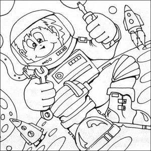 An Astronaut Doing Mechanical Stuff on the Moon Coloring Page