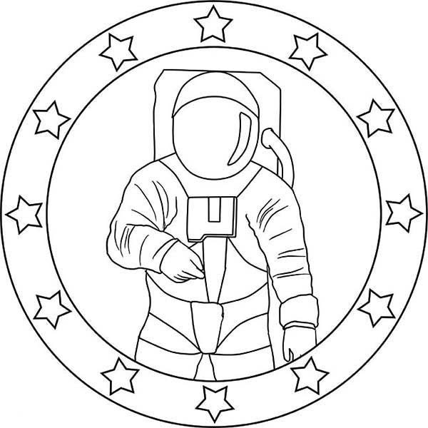 an astronaut emblem for a mission coloring page download print - Astronaut Coloring Pages Kids