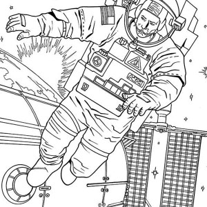 An Astronaut Floating Outside the Space Station Coloring Page