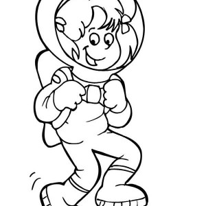 An Astronaut Girl Doing a Moon Walk Coloring Page