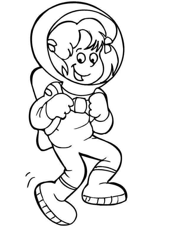 An Astronaut Girl Doing a Moon Walk Coloring Page Download