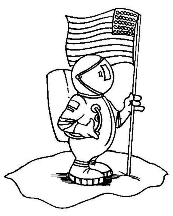 An Astronaut Holding USA Flag on the Moon Coloring Page - Download ...