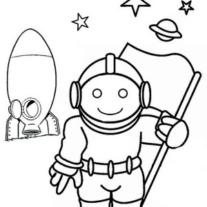 An Astronaut Holding a Flag Outside the Spacecraft Coloring Page
