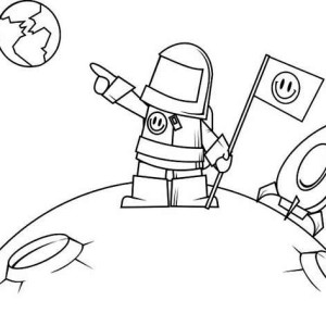 An Astronaut Pointing Earth from the Moon Coloring Page