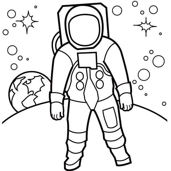 Astronaut, : An Astronaut Walking at the Moon Surface Coloring Page