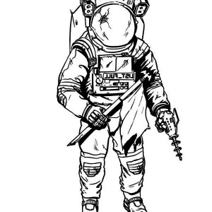 An Astronaut Wearing a Damage Spacesuit Coloring Page