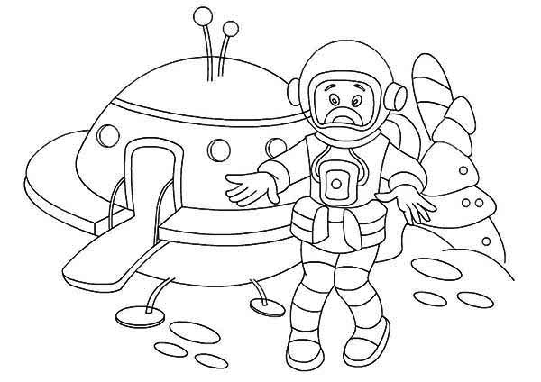 An Astronaut And His Spacecraft Coloring Page