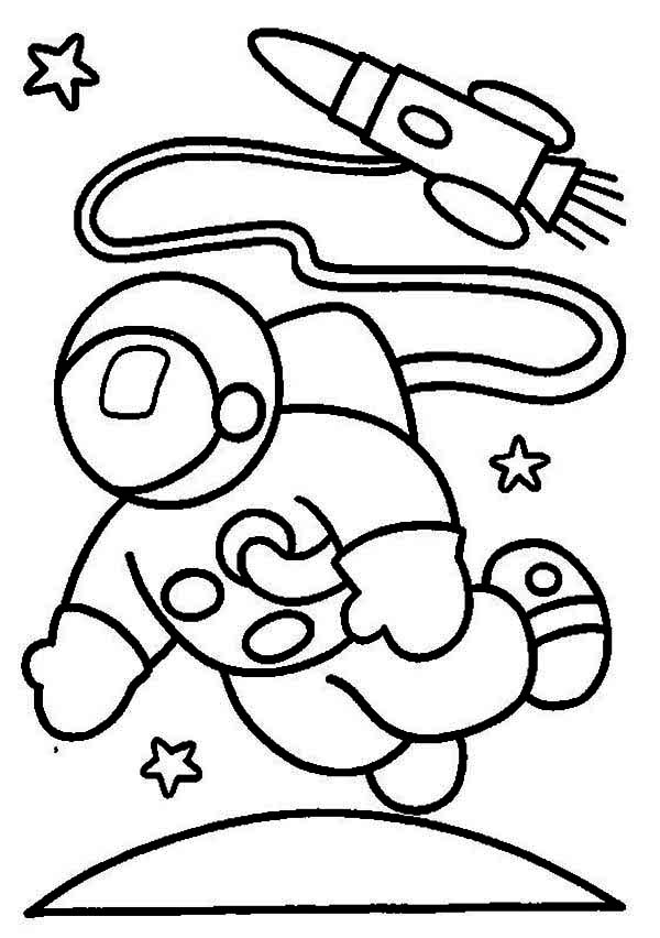an astronaut in the moon orbit coloring page - Astronaut Coloring Pages Printable
