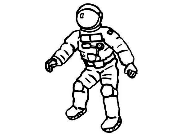 An Astronaut On His Space Suit Coloring Page: An Astronaut