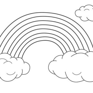 rainbow with clouds coloring page - a cute little boy and his puppy watching over the rainbow