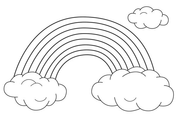 Rainbow Coloring Page Fascinating An Unique Rainbow Between Two Clouds Coloring Page  Download 2017
