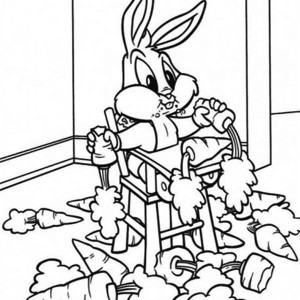 Baby Bugs Eating Bunch of Carrot Coloring Page