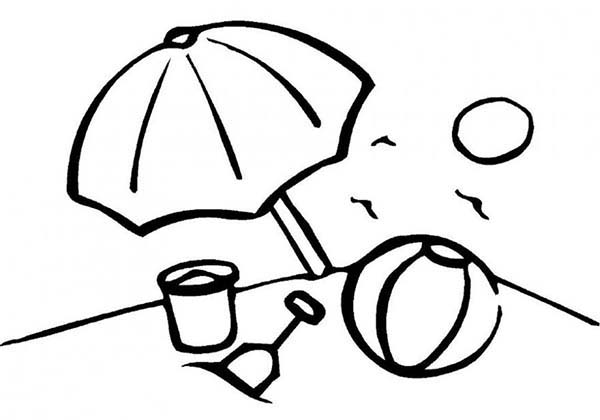 Beach Umbrella And Bunch Of Toy Sets Coloring Page