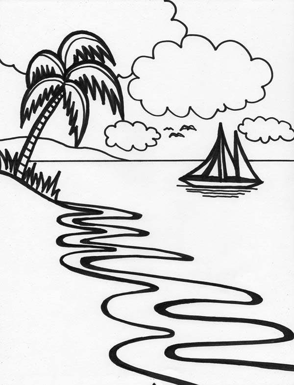 Line Art Beach : Beautiful beach line drawing in art graphic coloring page