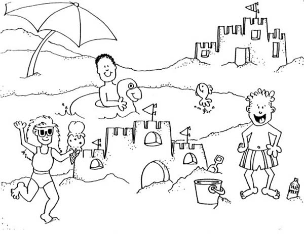 Building Sand Castle On A Beach Trip Coloring Page Download