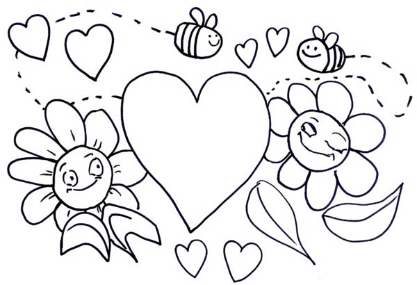 bumblebee illustration for valentines day coloring page - Valentine Day Coloring Pages