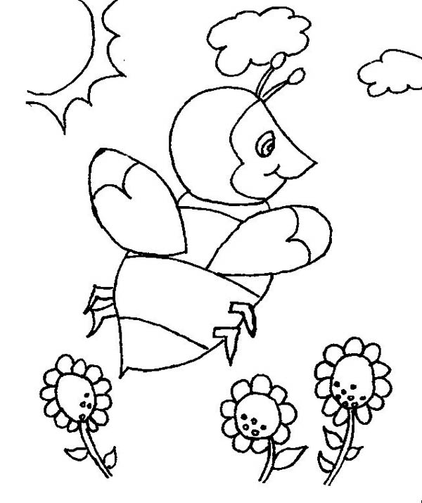 bumblebee in the open field of flowers coloring page download