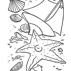 Couple of Seashell on the Beach Coloring Page