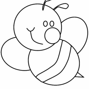 cute bumblebee with big smile coloring page