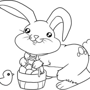 Cute Little Bunny with a Basket of Eggs Coloring Page