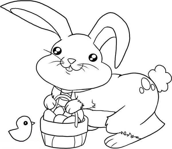 small bunny rabbit coloring pages | Cute Little Bunny with a Basket of Eggs Coloring Page ...