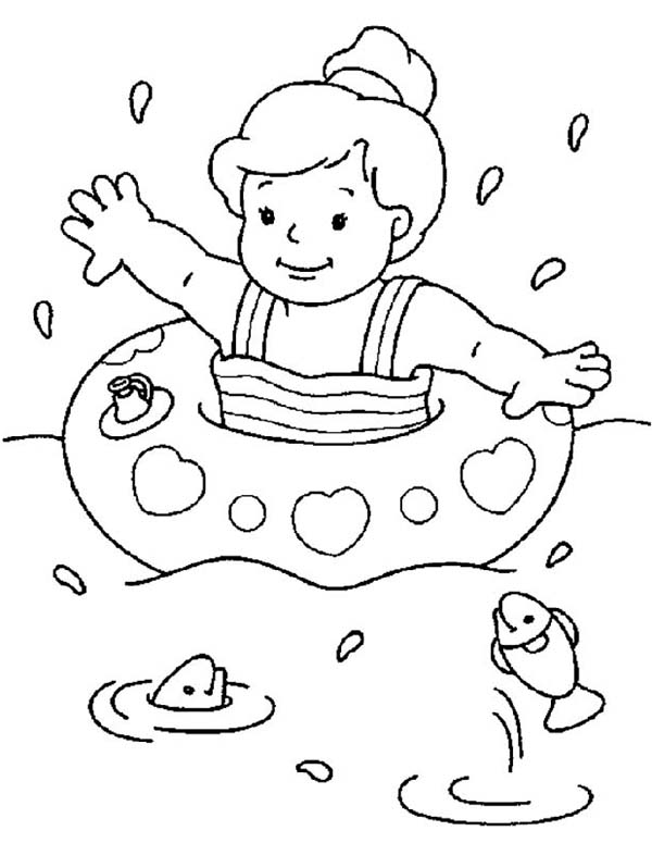 Cute Little Girl Swimming on the Beach Coloring Page - Download ...