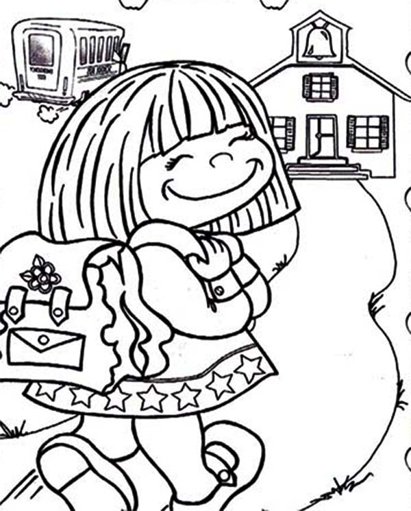 Cute Little Girl on Her First Day of School Coloring Page - Download ...