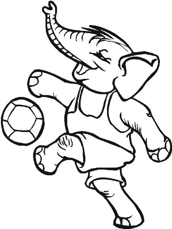 playing soccer coloring pages - even an elephant playing soccer too coloring page