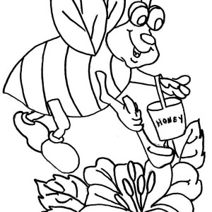 Fat Bumblebee Scooping for Honey Coloring Page