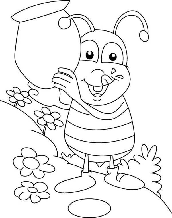 Bumblebee fat with big jar honey