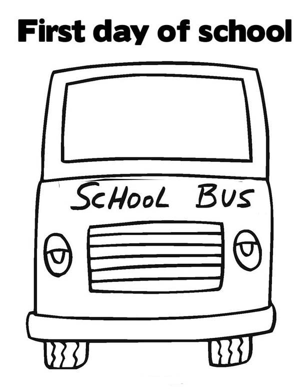 First Day of School on School Bus Coloring Page - Download & Print ...