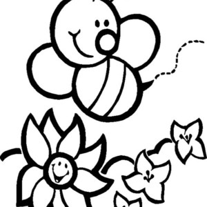 Happy Bumblebee And Flowers Coloring Page