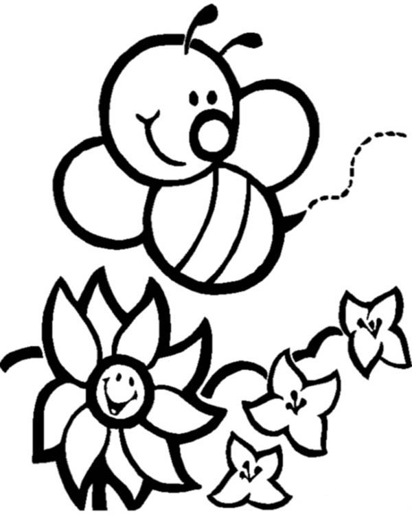 Happy Bumblebee and Flowers Coloring Page Download Print