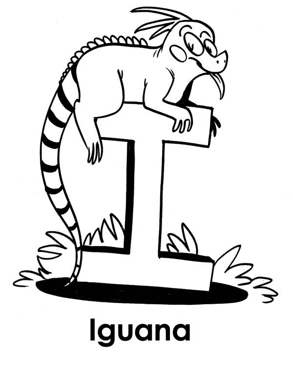 iguana on top of letter i coloring page - I Coloring Page