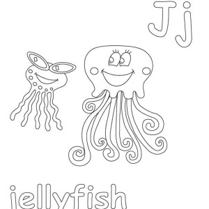 J is for Jellyfish coloring page for kids