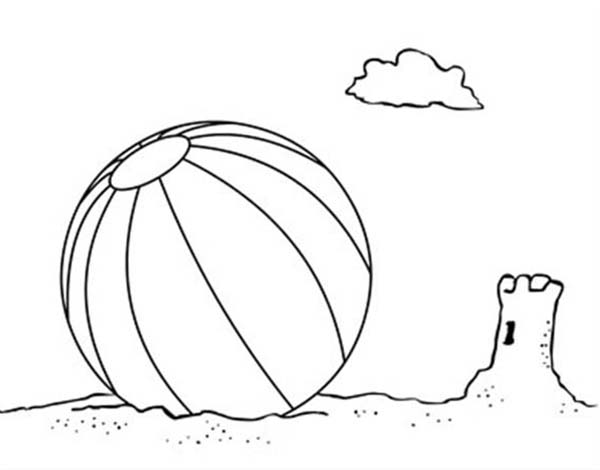 Beach Vacation Lets Play With A Ball Coloring Page