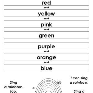 Lets Sing a Rainbow Song Together Coloring Page