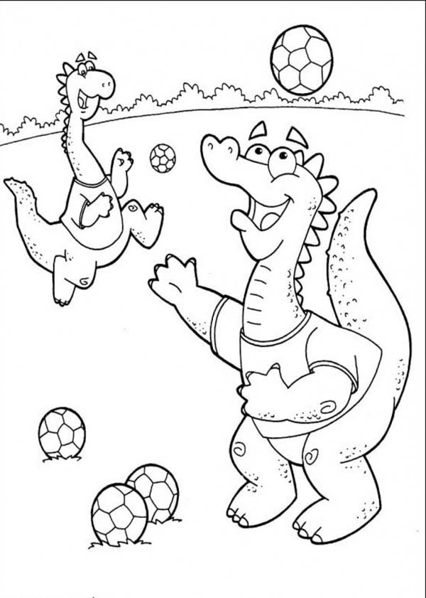 little dinosaurs playing soccer coloring page