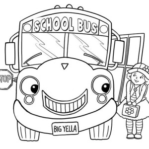 Little Girl and School Bus on First Day of School Coloring Page