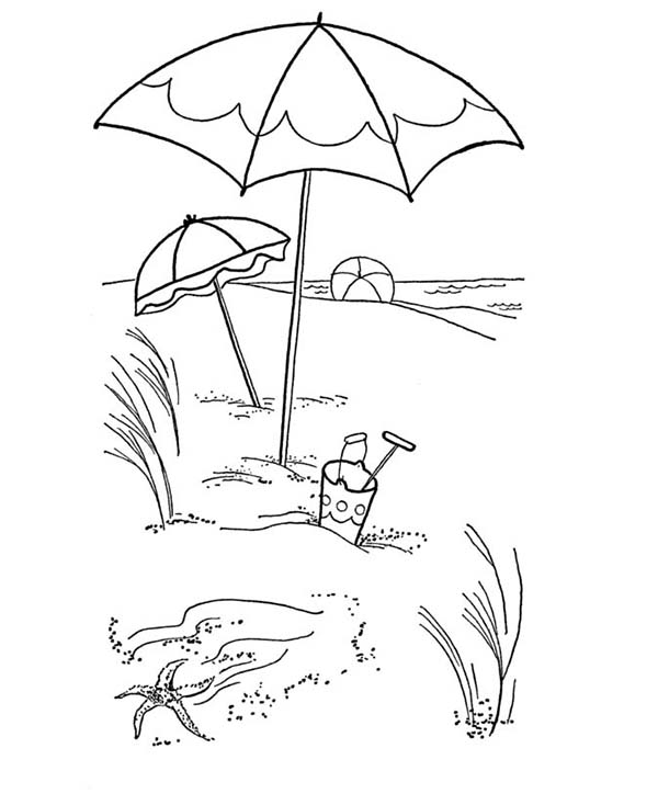 Lovely Beach Umbrella on a Sandy Beach Coloring Page Download