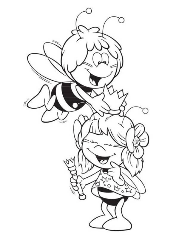 Maya the Bee Playing with the Royal Crown Coloring Page - Download ...