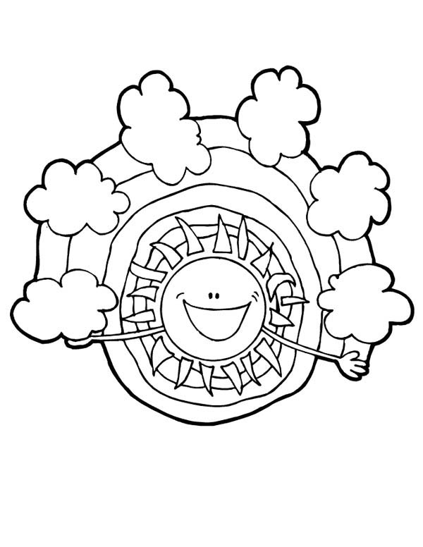 Meet My Friend Rainbow Say the Sun Coloring Page - Download & Print ...