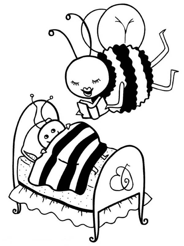 Mother Bumblebee Read a Story to Her Kid Coloring Page  Download