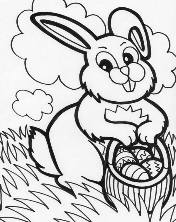 Bunnies Mrs Bunny With A Basket Of Easter Eggs Coloring Page