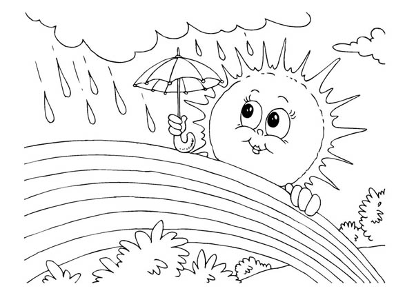 Mrs Sun Using Umbrella During a Rainbow Rain Coloring Page