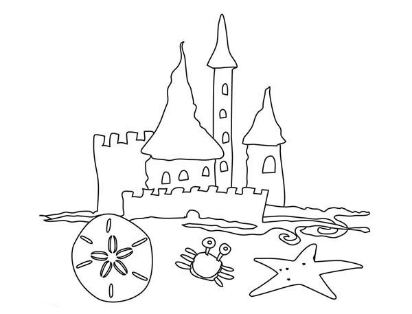 Simple Drawing Of Beach Castle Coloring Page Download